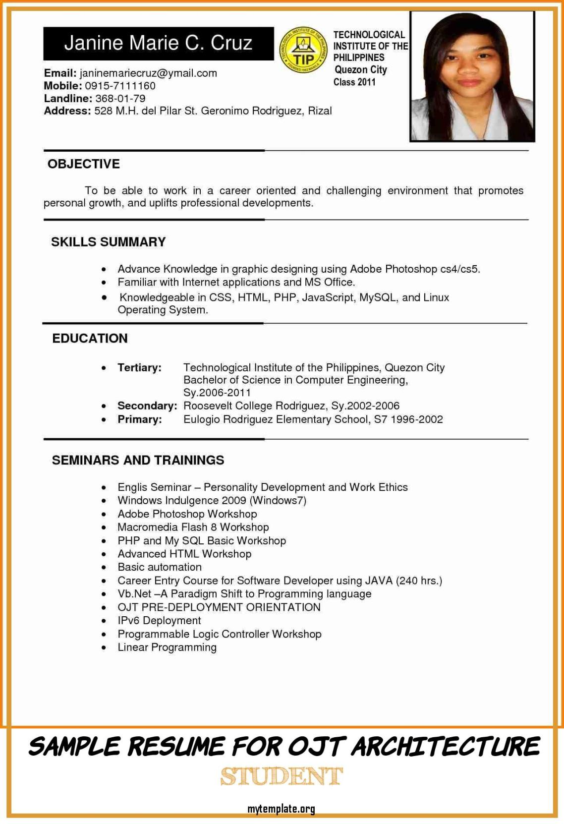 6 sample resume for ojt architecture student  free templates