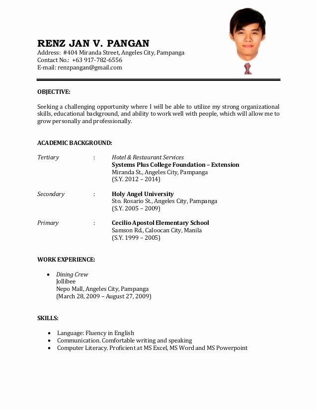 First Time Job Resume Best format Resume for Job Sample Resume for First Time Job