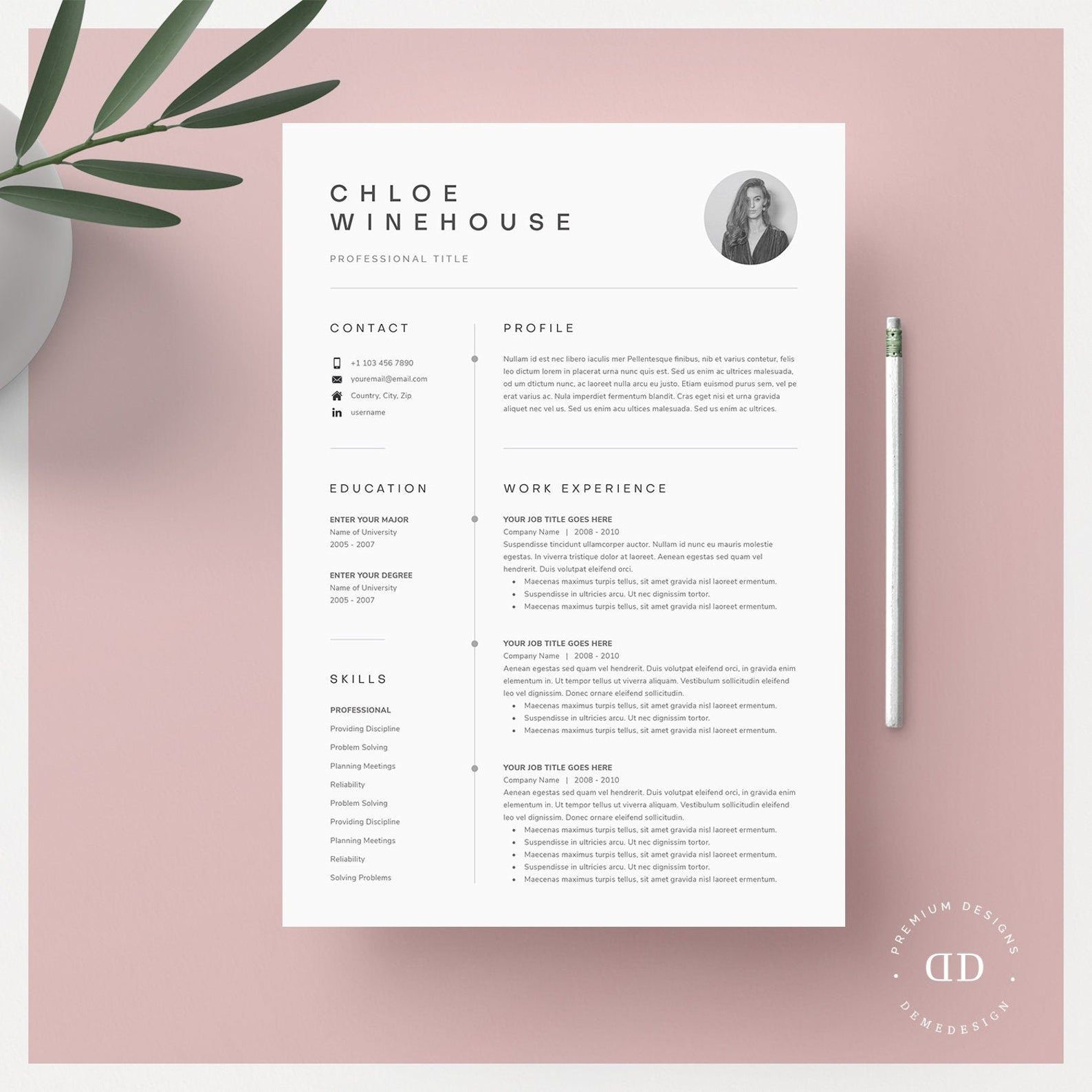 Resume Template Resume Template Word Resume With Picture CV CV Template Resume with Cover Letter Professional Resume Template Resume