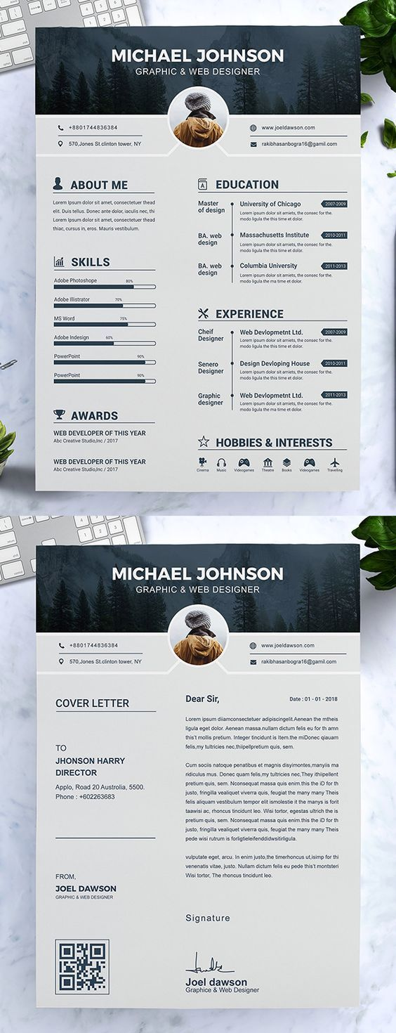 CV Template with Professional Resume Design for Word