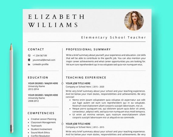 Teacher Resume Template Ms Word & Mac Pages Teaching CV Educator Curriculum Vitae Professional Resume and Cover Letter Template