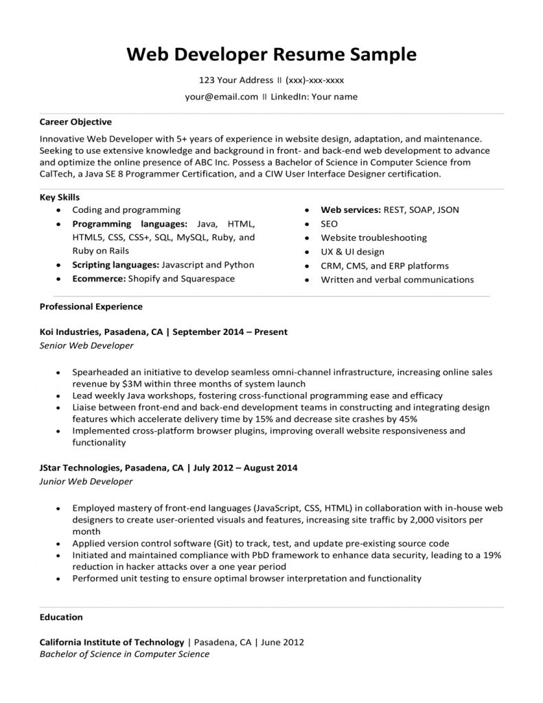8 Years Experience Resume Format 2021