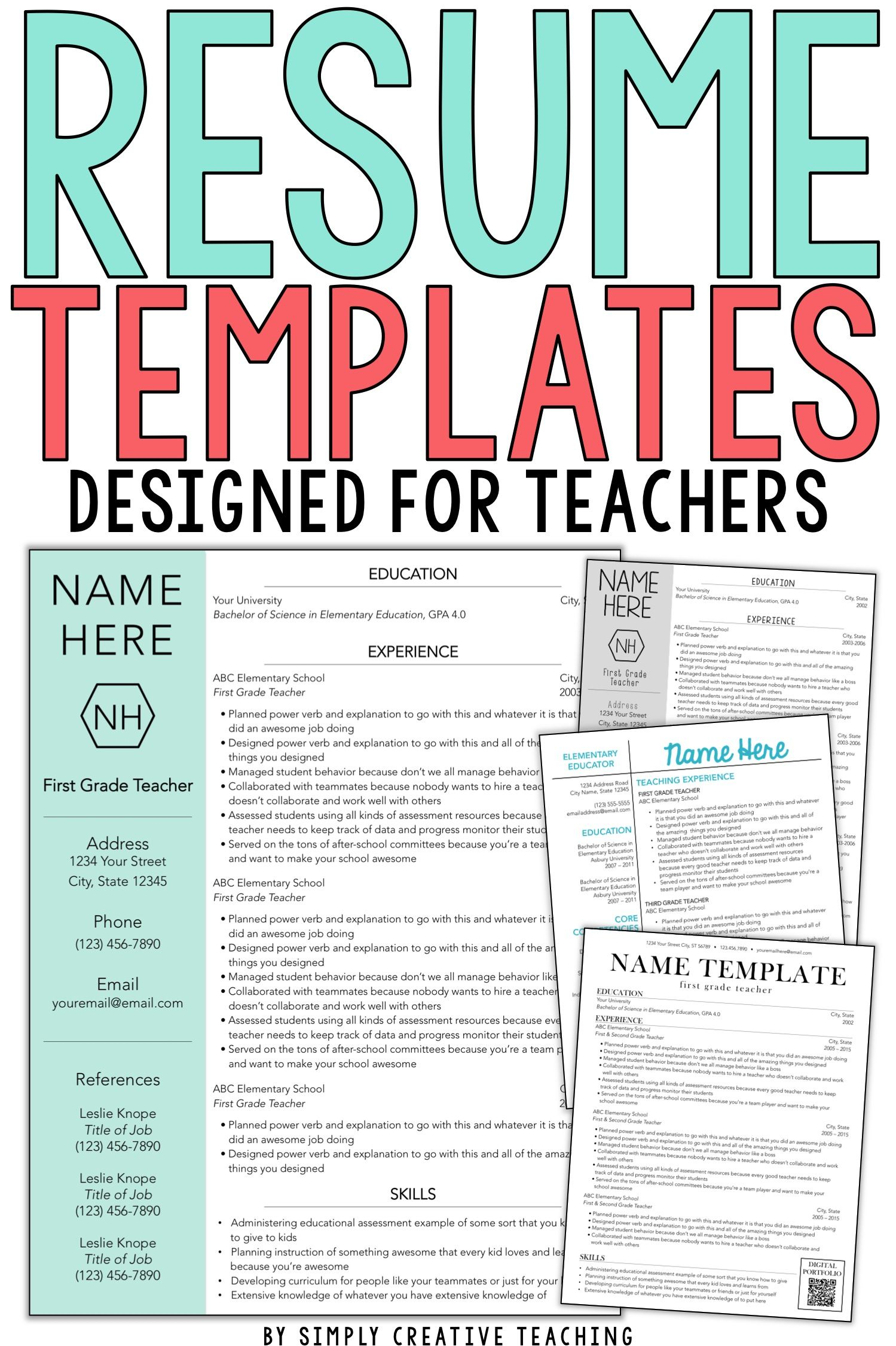 Land your ideal teaching job whether it's your first year and you have no experience or you just want to update your teaching portfolio these editable teacher resumes are unique & stand out The design of each resume template is simple & creative and the design ideas included are the perfect way to showcase your skills These editable resumes can work for elementary middle or high school teachers even special area teachers or special education teachers Show your profile & objectives