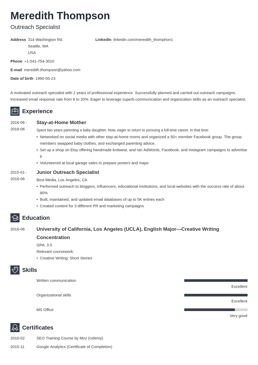stay at home mom resume example template newcast