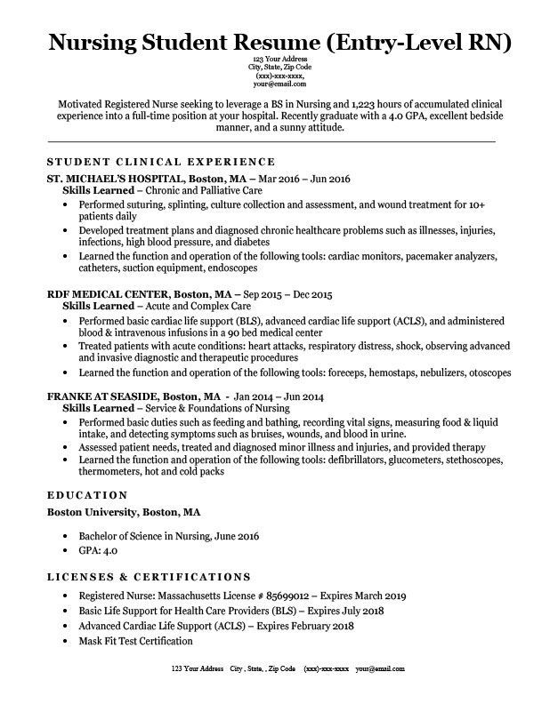 entry level nursing student resume sample nursingstudents hour