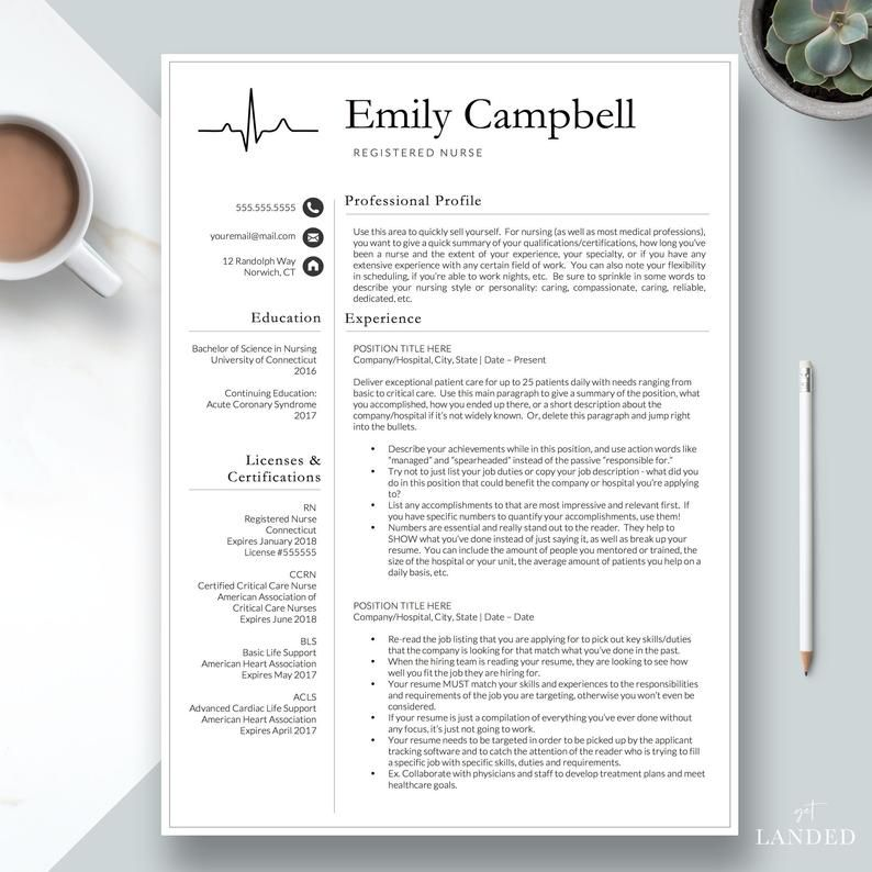 New Nurse Resume Template Registered Nurse Resume Template e Page Nursing Resume Medical Resume Template RN Resume New Grad Nurse