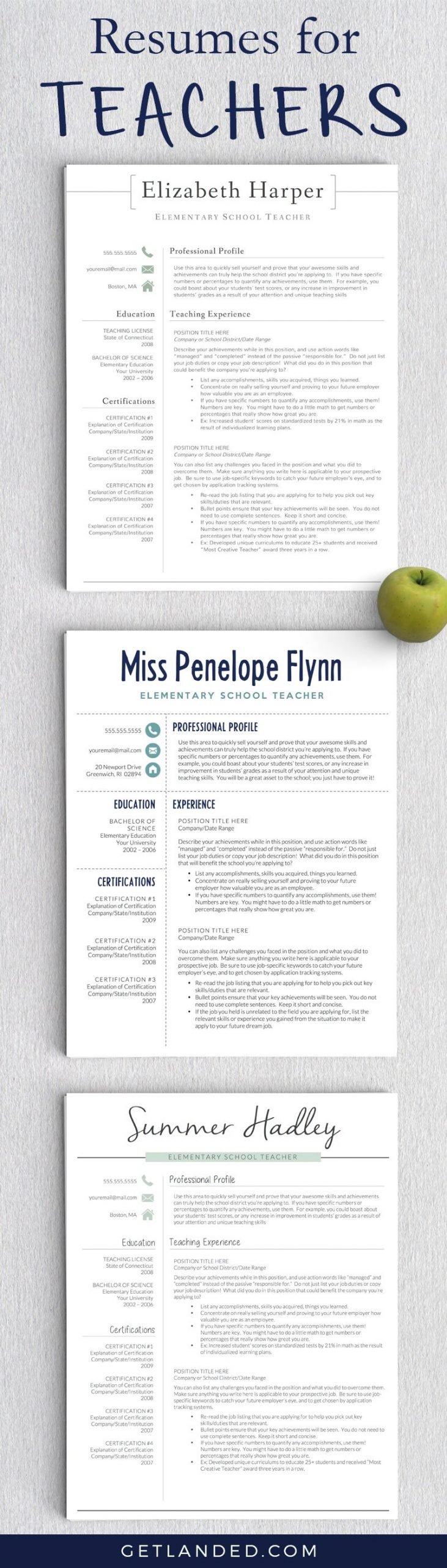 Resumes designed for teachers and educators Teacher resume Teacher resume tips