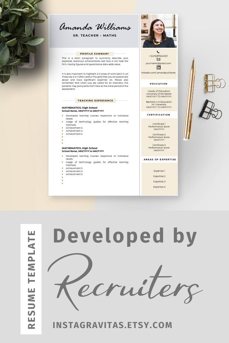 CV template with photo Teacher resume template Cv template for teacher CV for teacher CV