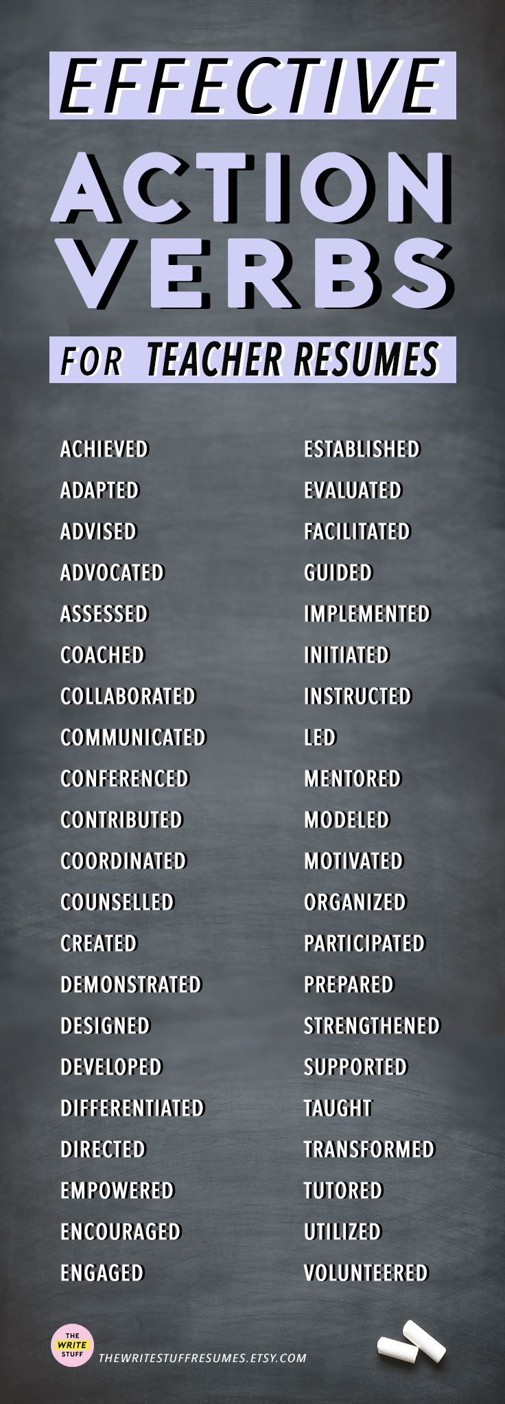 Teacher Resume Tips Effective Resume Action Verbs
