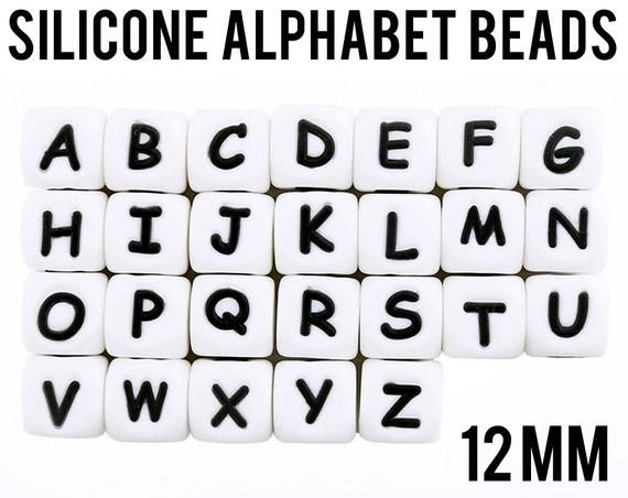 A Z Silicone Alphabet Cube Beads 12 mm square Bulk Silicone Beads Wholesale DIY Jewelry