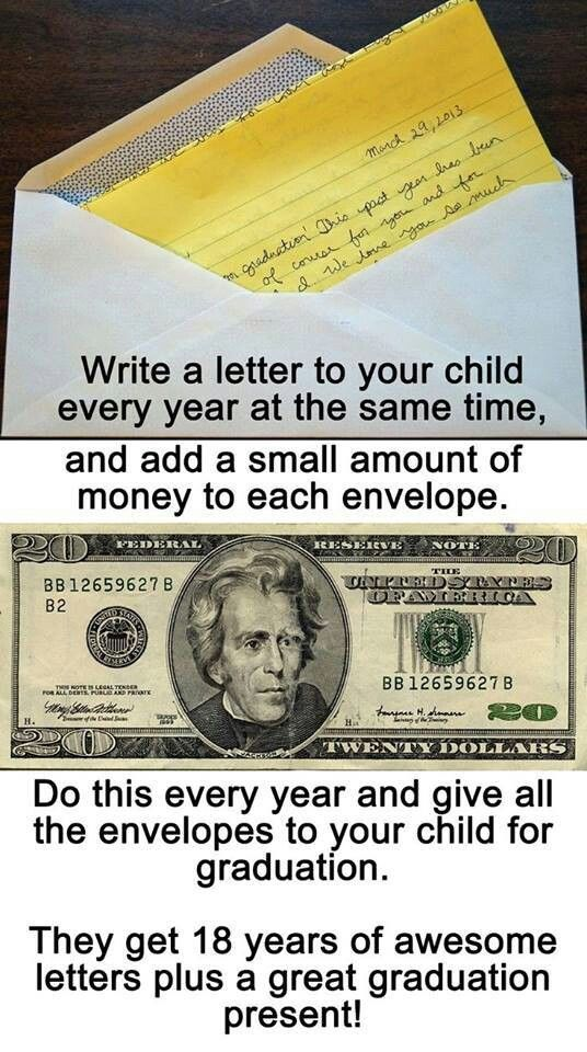 Annual idea Write a letter to to child each year incld $ and at age 18 they ll have 18 letters to open plus a graduation present