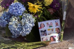 Flowers on sidewalk in front of Emanuel AME Church
