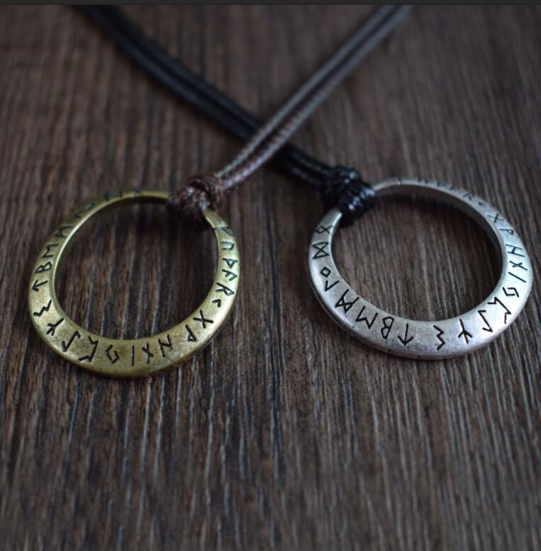 Rustic viking pendant necklace with elder futhark runes rustic viking pendant aloadofball Images