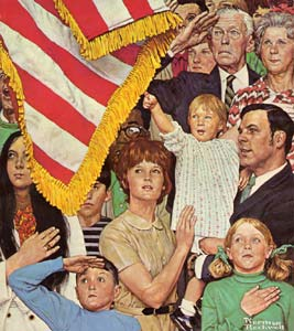 Flag and patriots Norman Rockwell