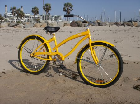 Yellow beach cruiser bike