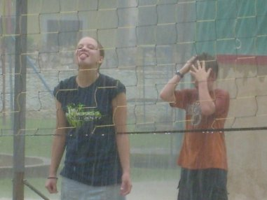 Volleyball in the rain
