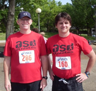 After our 10K race together. David and PlaneT3rry
