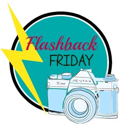 a blue camera in a blue circle with the words flashback Friday in the circle