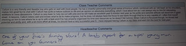 Callum's School Report