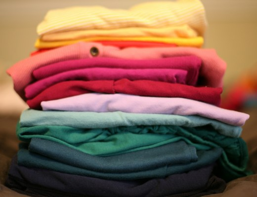 A pile of clean, folded clothes