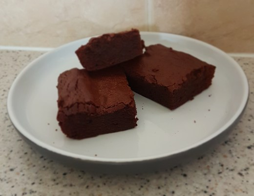 A plate of three Chocolate Brownies