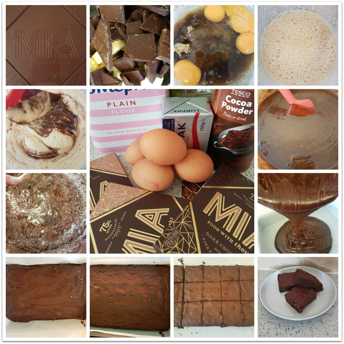 A collage featuring the steps of making brownies