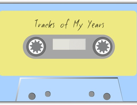 A blue tape cassette with a yellow label. Tracks of My Years is written on the label