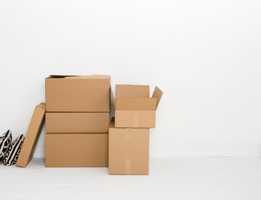 a number of boxes piled up
