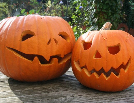 two carved pumpkins for Halloween