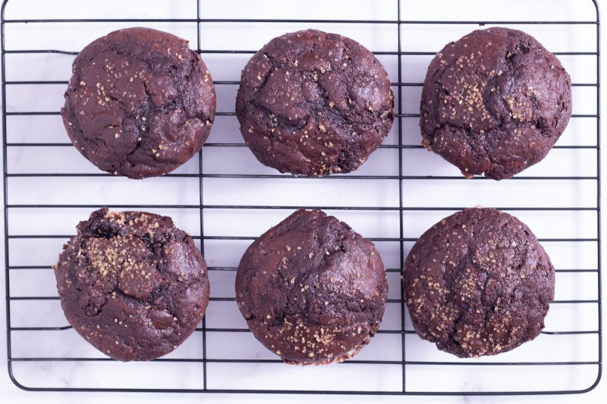 Overhead shot of Chocolate Muffins with chocolate chips on a wire rack on a white surface.