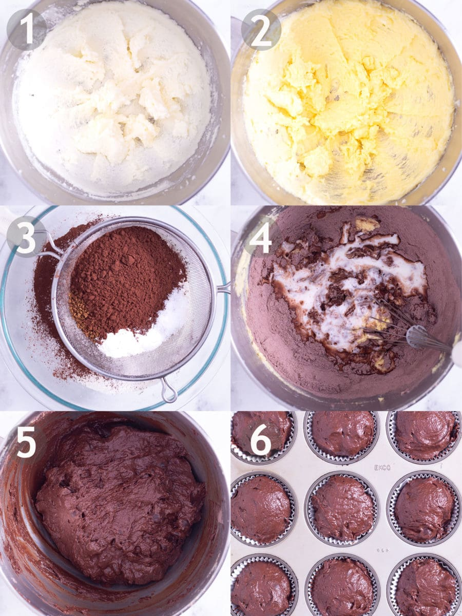 Step by step process of making double chocolate chip muffins: cream butter and sugar, add eggs, sift dry ingredients, mix everything together and bake.