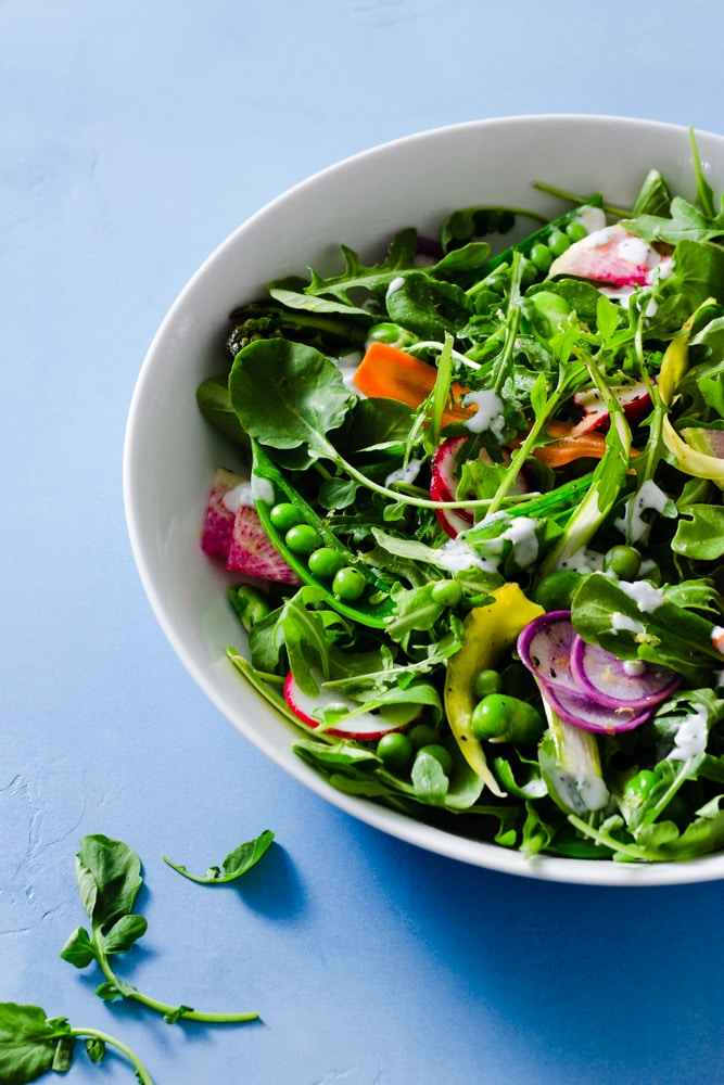 ¾ angled view of a spring vegetable salad with arugula, watercress, snap peas, English peas, fava beans, red radishes, purple radishes, watermelon radishes, carrots and asparagus with buttermilk poppy seed dressing on a light blue background.