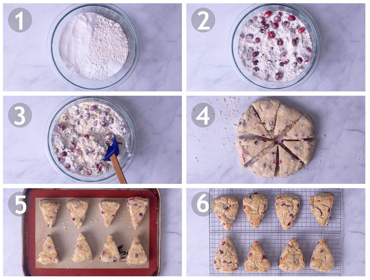 Step by step photos of making Cranberry Orange Scones: mix dry ingredients, cut in butter and add cranberries, stir in cream, form and cut into triangles, top with sugar and bake.