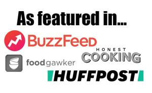 Featured in widget showing logos of buzz feed, honest cooking, foodgawker and huff post