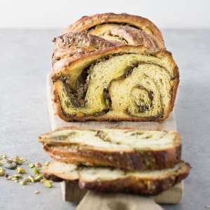 Pistachio Babka sliced on cutting board