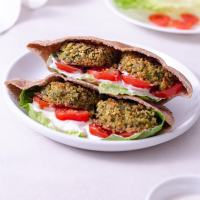 Crispy Baked Falafel with Tahini Yogurt Sauce