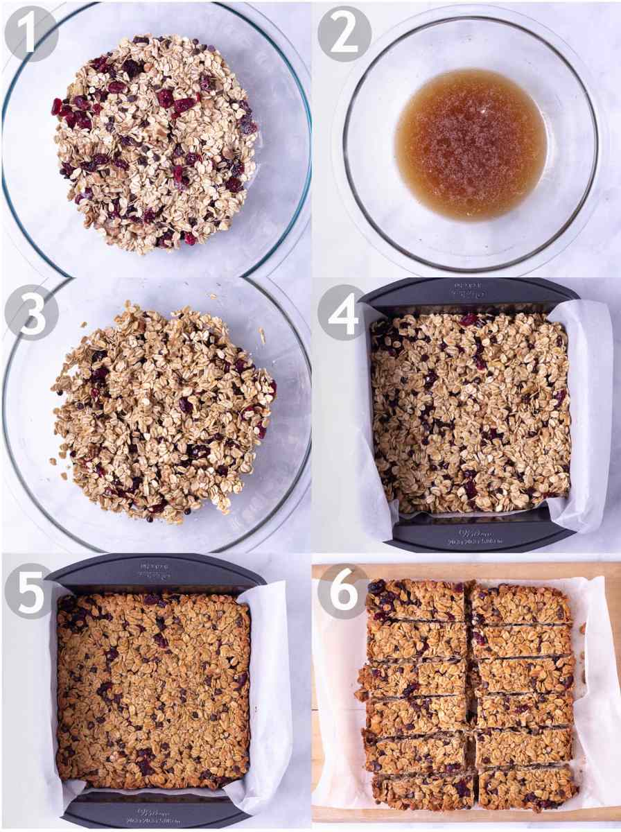 Step by step process: mix dry ingredients, mix wet ingredients, combine wet and dry, place in square pan, bake and cut into bars.