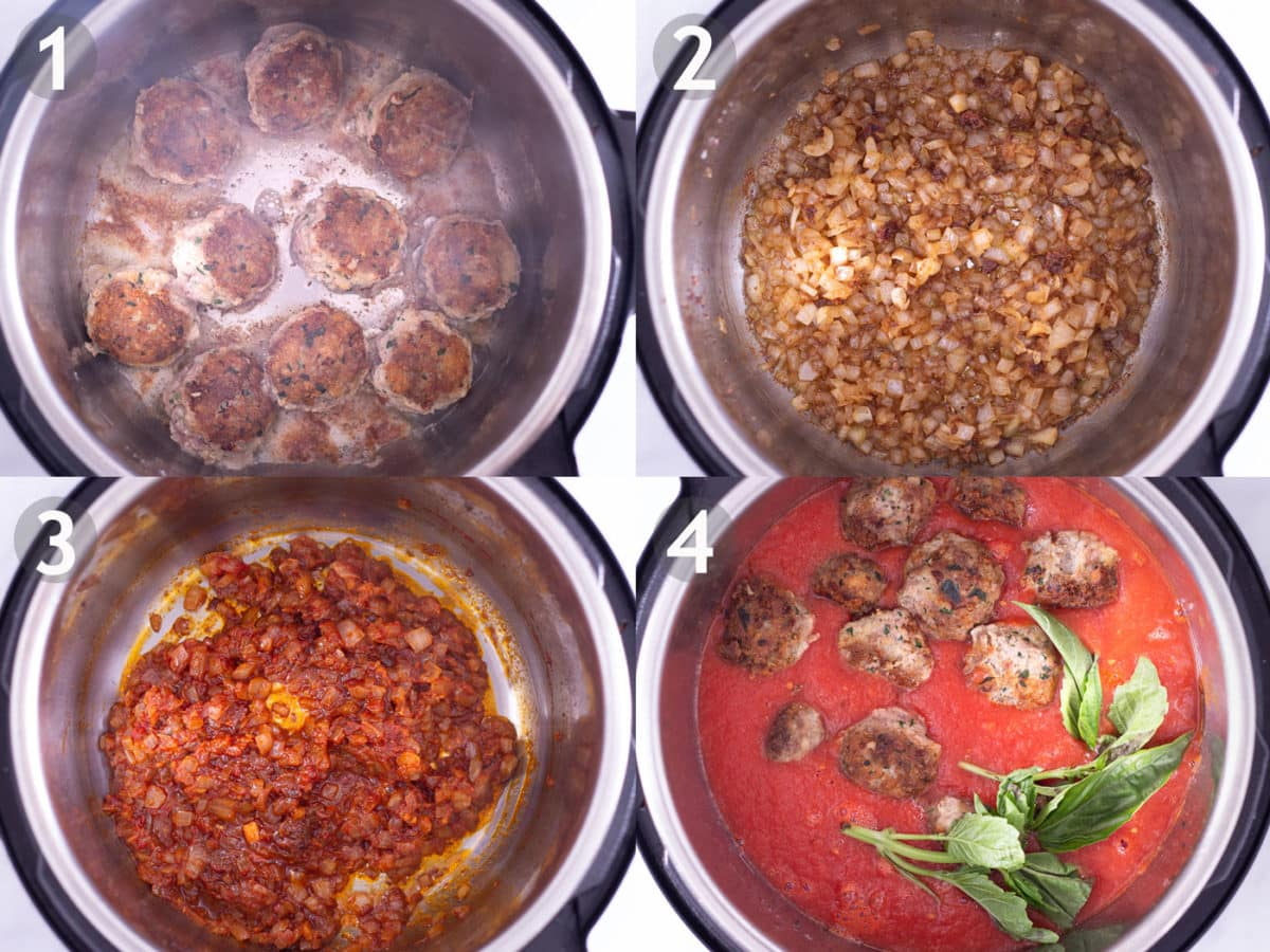 Steps of cooking meatballs in pressure cooker: brown meatballs, cook onion and garlic, add tomato paste, add canned tomatoes and basil, and cook.