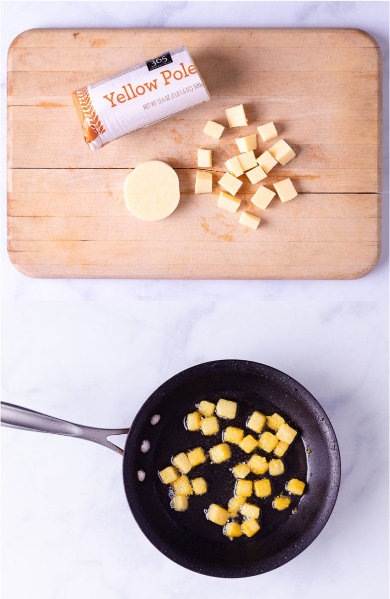 Side by side images showing how to cut and fry store bough polenta into croutons.