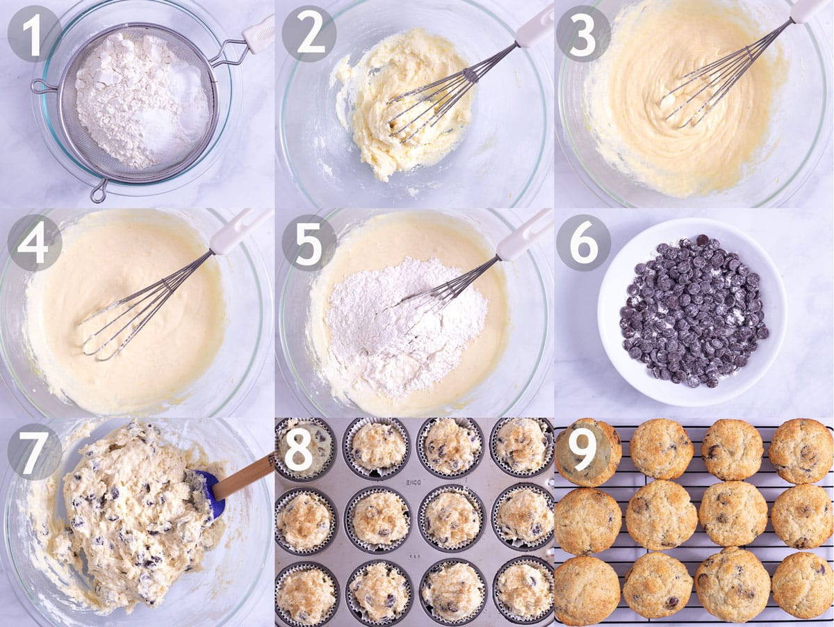 Step by step of making muffins: sift dry ingredients, whisk eggs and sugar, add sour cream, mix in dry ingredients and milk, add chocolate chips and make in muffin tin.