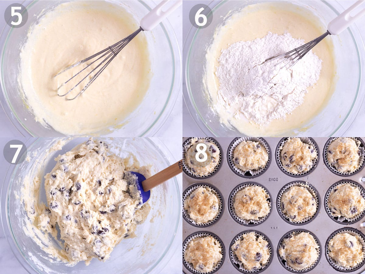 Last 4 steps to make blueberry muffins: add buttermilk and dry ingredients to egg and sugar mixture. Stir in blueberries and bake in muffin tin.