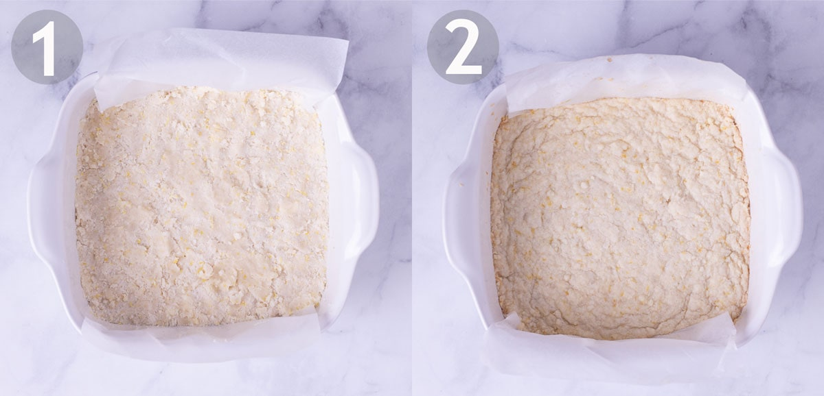 Before and after baking shortbread crust in a white baking dish on a marble surface.