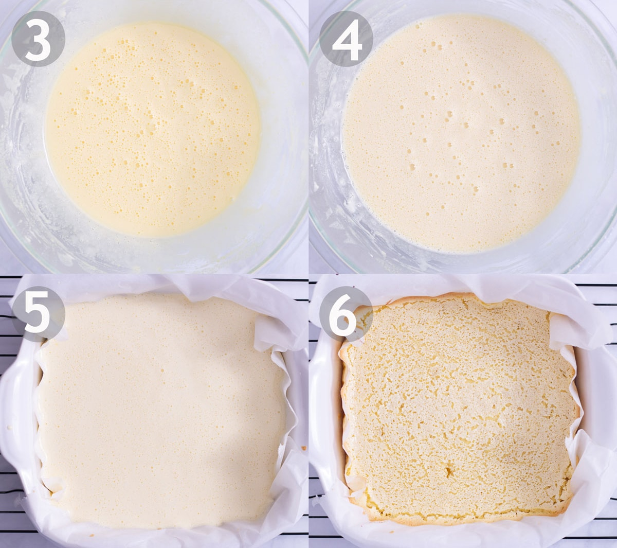 Steps to make lemon bars: mix filling ingredients and bake in crust.