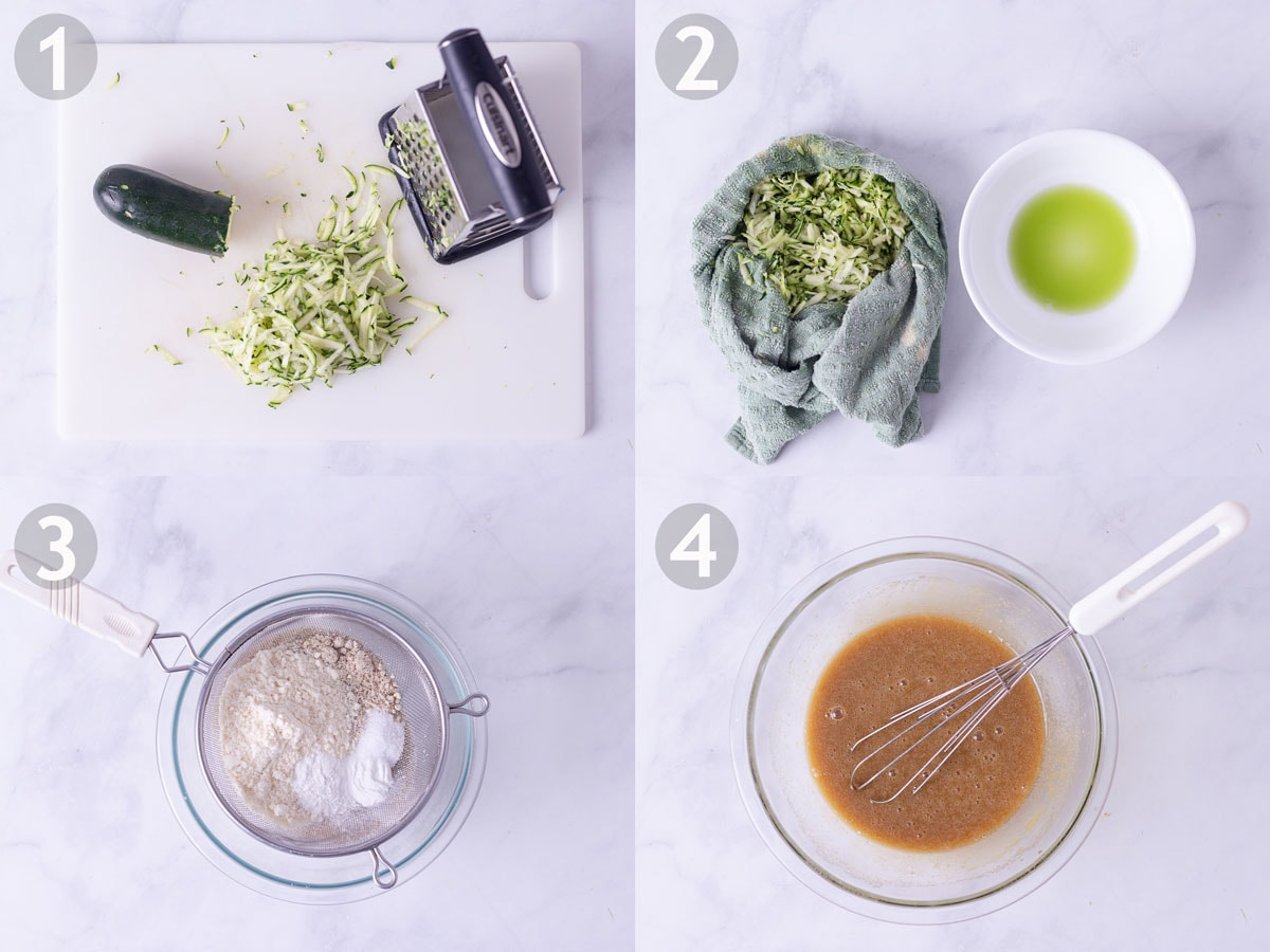 Steps 1-4 to make zucchini bread: grate and squeeze zucchini, sift dry ingredients and whisk eggs with brown sugar and oil.