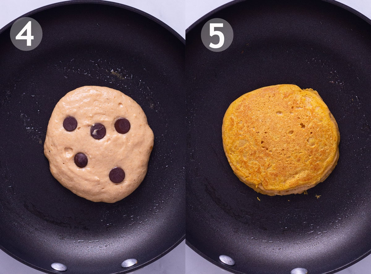 Overhead view showing pancake before and after flipping it in pan.