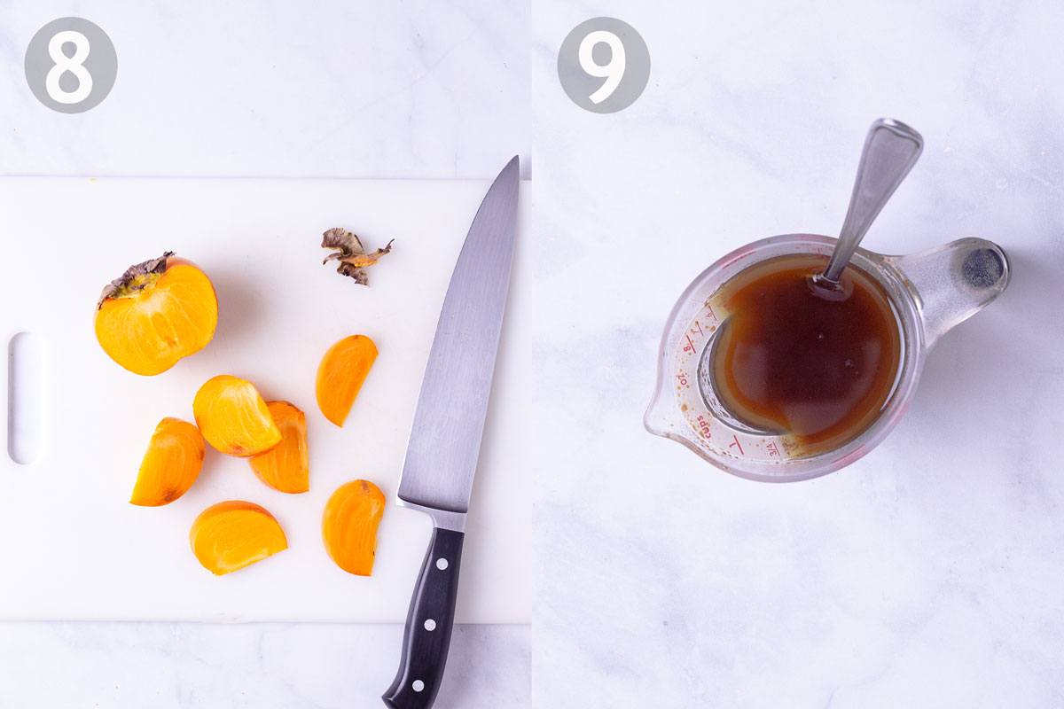 Step by step photos of cutting persimmons and making balsamic dressing.