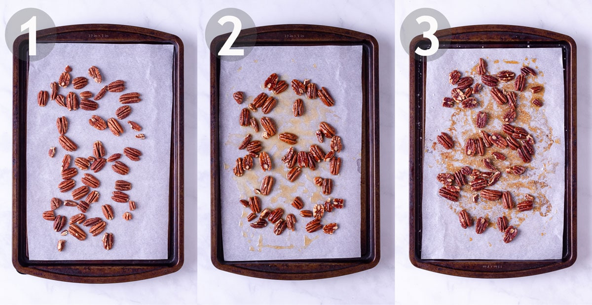 3 steps to make maple butter pecans in the oven.