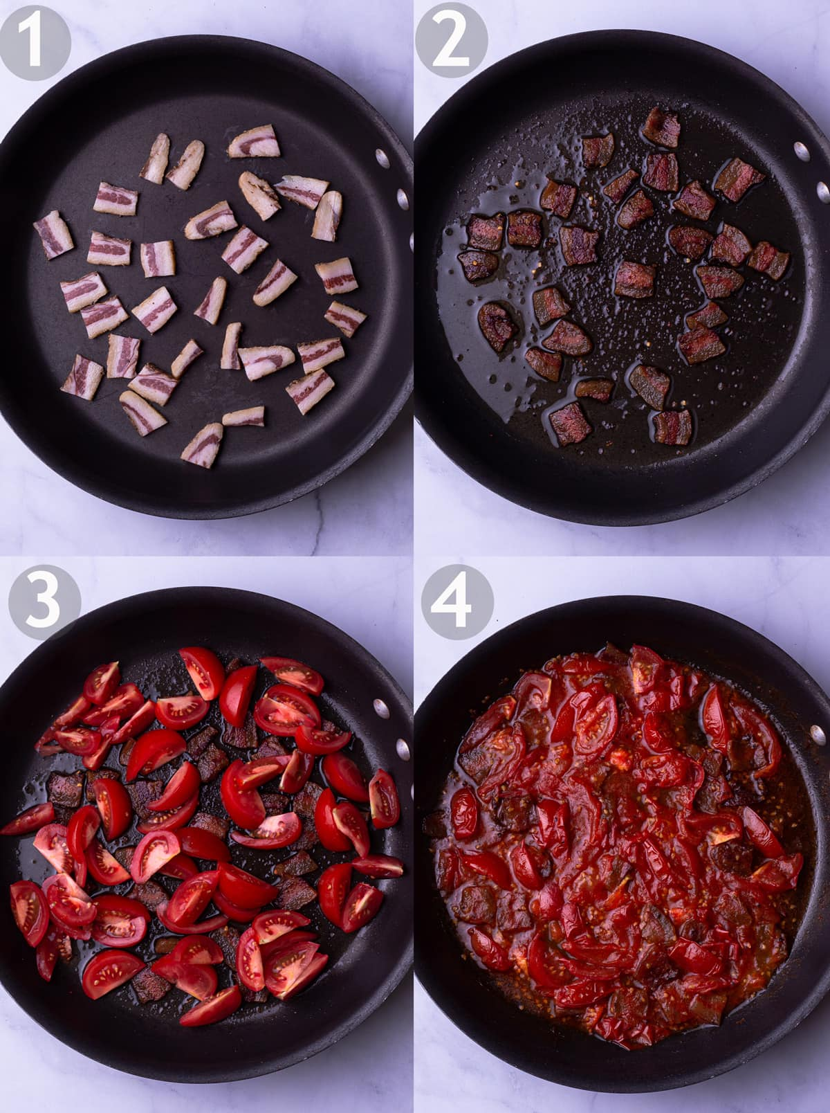 Step by step photos of making pasta sauce including rendering the guanciale, adding red pepper and adding and cooking down tomatoes.