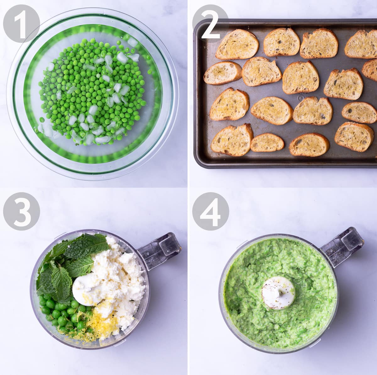 Steps to make crostini including shucking, blanching and shocking peas, toasting the bread and mixing the ricotta spread in a food processor.
