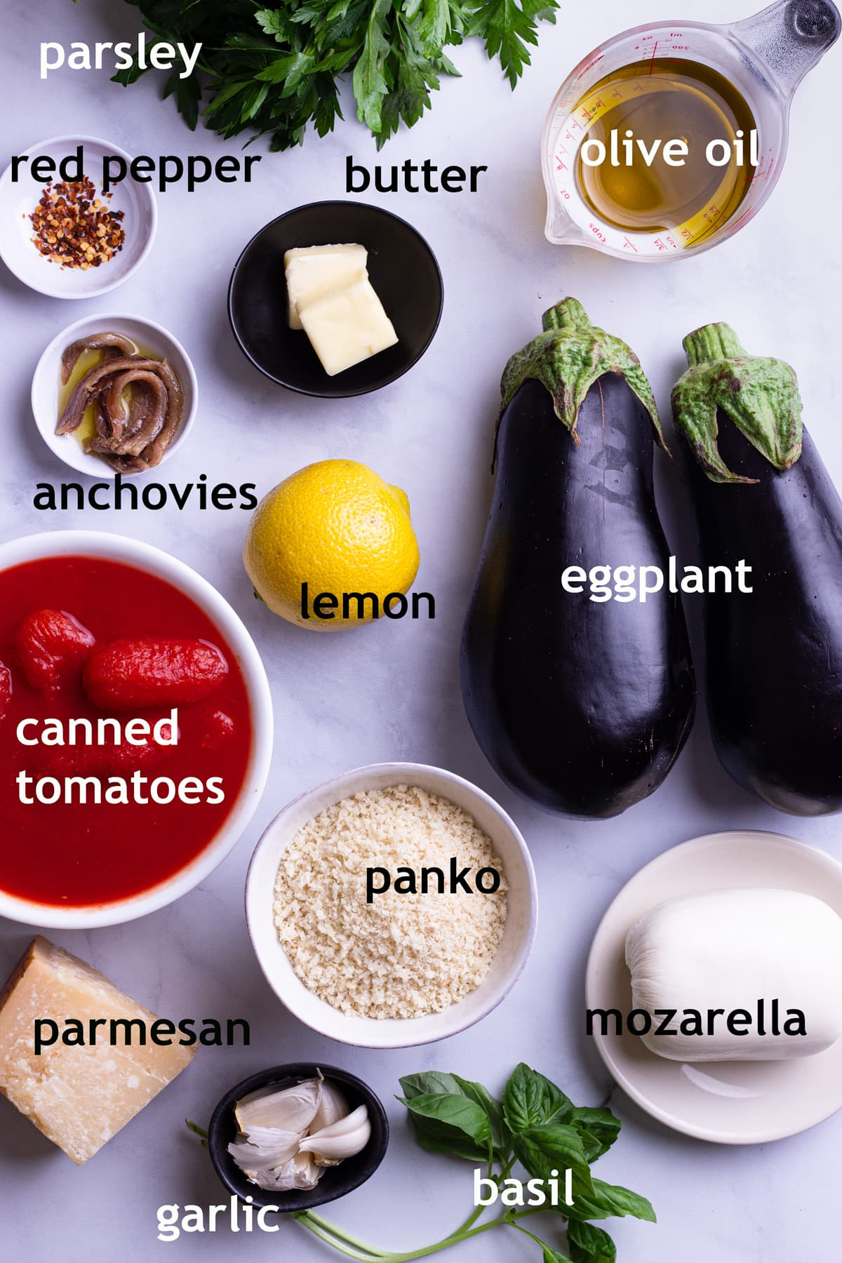 Overhead view of ingredients including eggplant, olive oil, canned tomatoes, mozarella, parmesan, panko breadcrumbs and garlic.